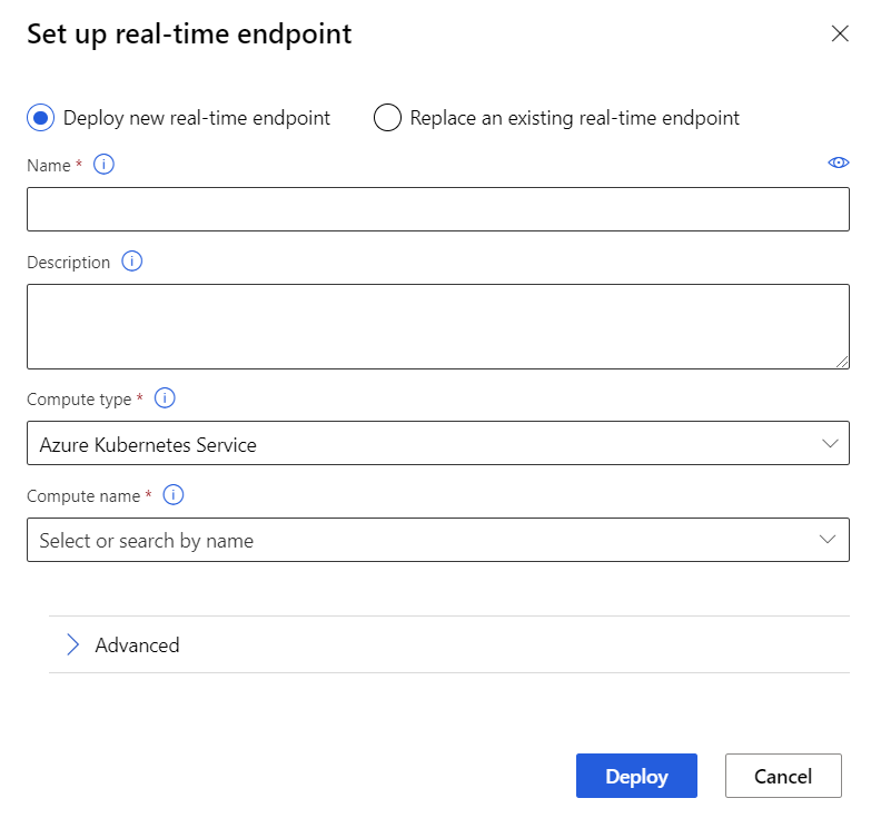 Screenshot showing how to set up a new real-time endpoint