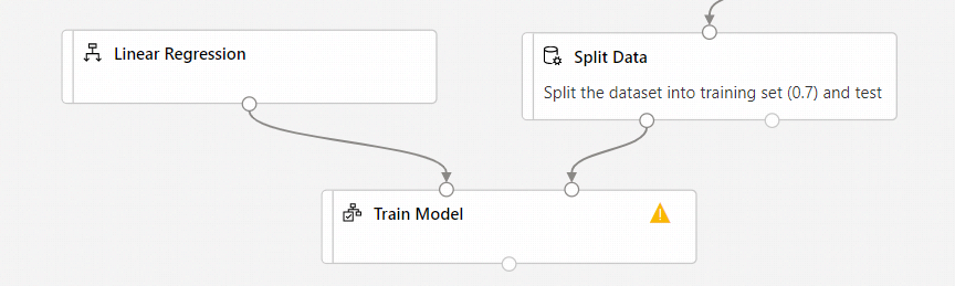 Screenshot showing the correct configuration of the Train Model module. The Linear Regression module connects to left port of Train Model module and the Split Data module connects to right port of Train Model