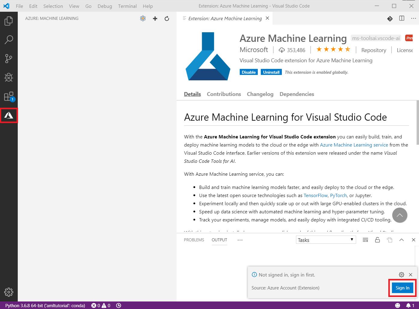 Use Visual Studio Code For Machine Learning Azure Machine Learning