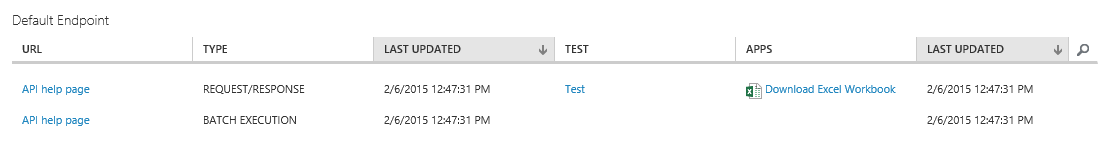 Consume web service in Excel - Azure Machine Learning Studio