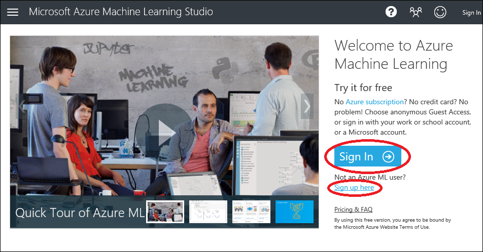 Sign in to Machine Learning Studio