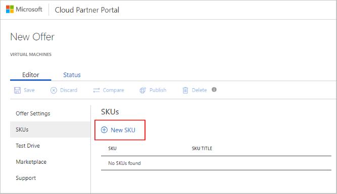 Virtual machine SKUs tab in the Cloud Partner Portal for