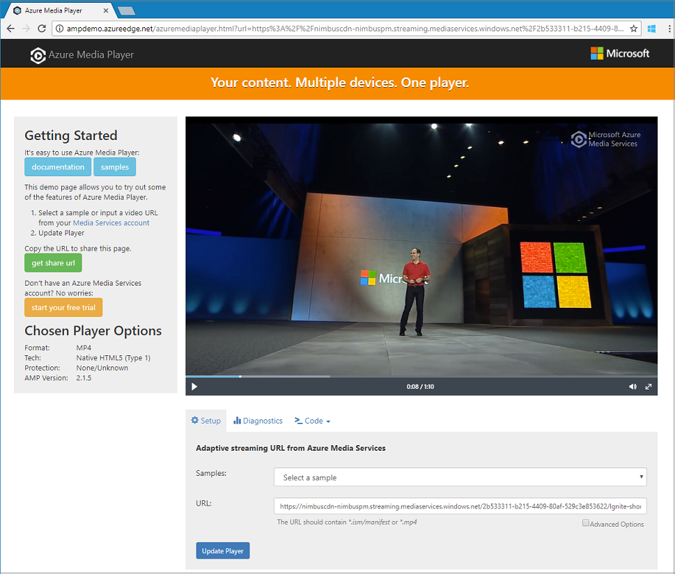 Stream video files with Azure Media Services -  NET