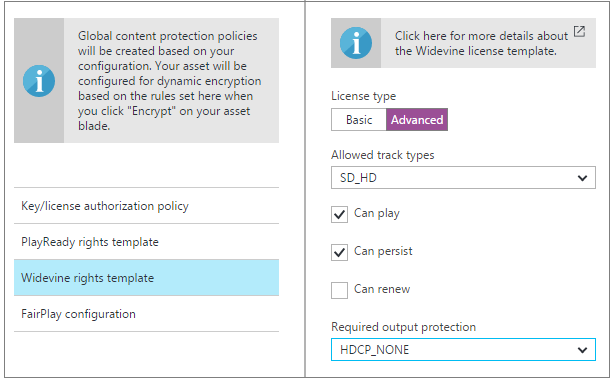 Configure content protection policies by using the Azure portal