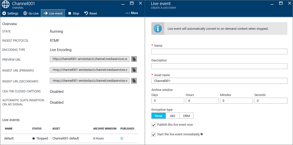 Perform live streaming using Azure Media Services to create