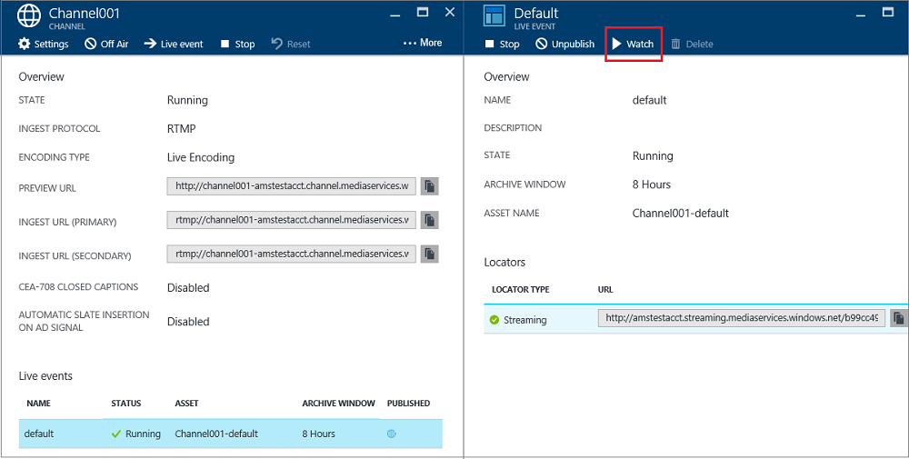 Perform live streaming using Azure Media Services to create multi