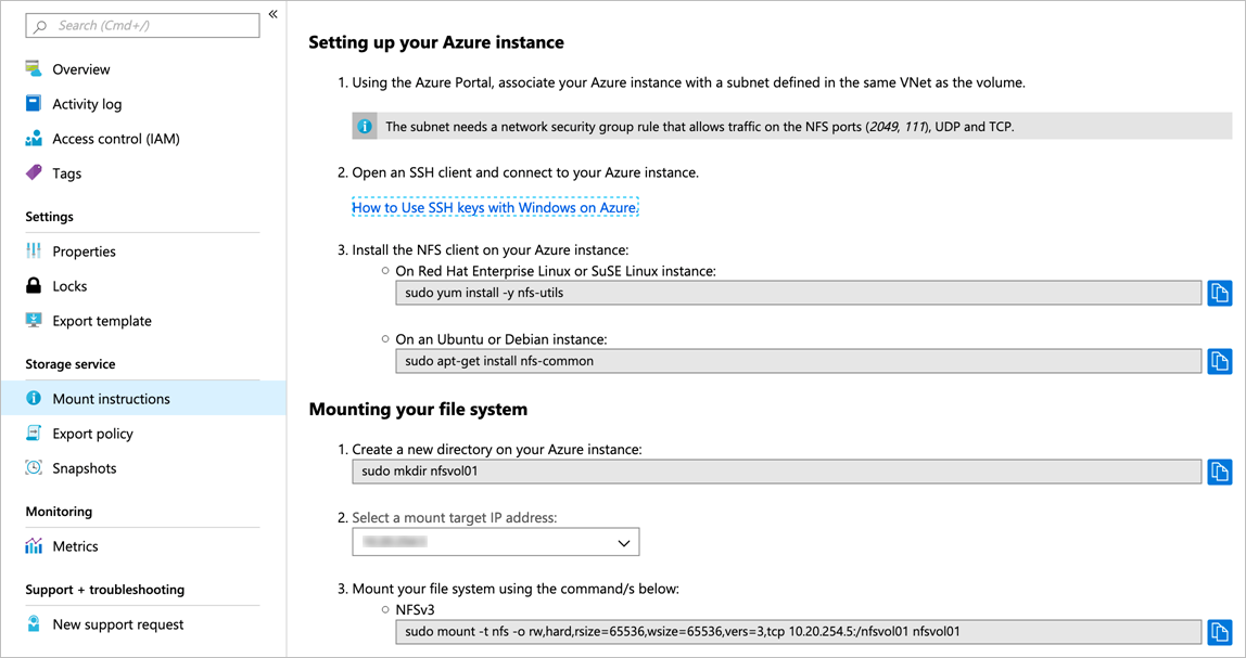 Mount or unmount an Azure NetApp Files volume for Windows or