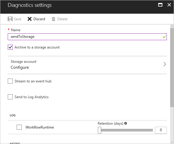 Diagnostic settings section