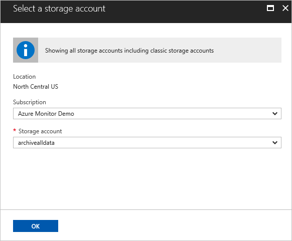 Diagnostic settings storage account