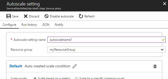 Navigate to autoscale settings