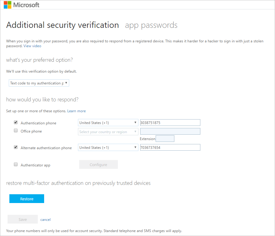 Manage Your Two Step Verification Settings Microsoft Docs
