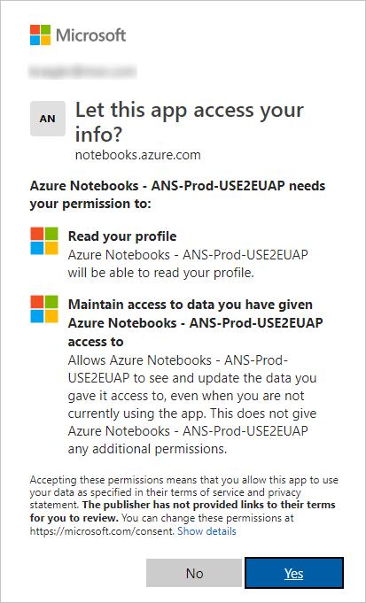 Account permissions prompt