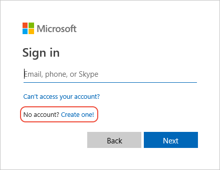 Create new Microsoft account command in sign-in prompt