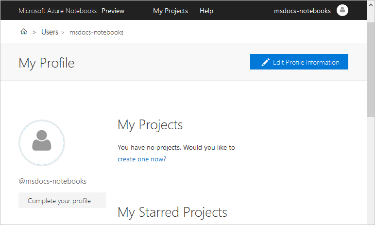 Initial view of an Azure Notebooks profile page