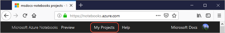 My Projects link on the top of the browser window
