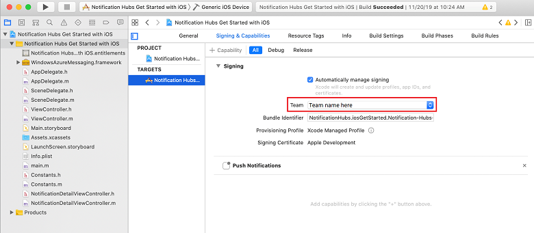 Push notifications to iOS apps using Azure Notification Hubs