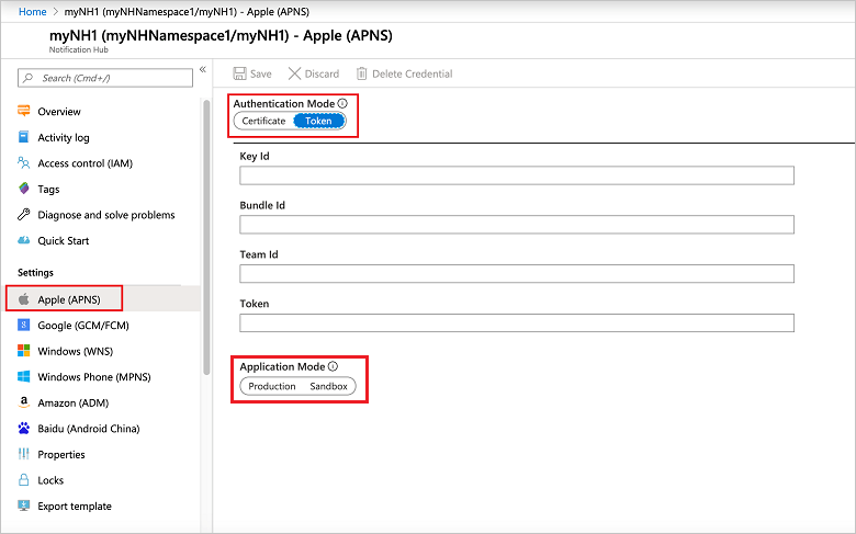 Token-based (HTTP/2) Authentication for APNS in Azure Notification