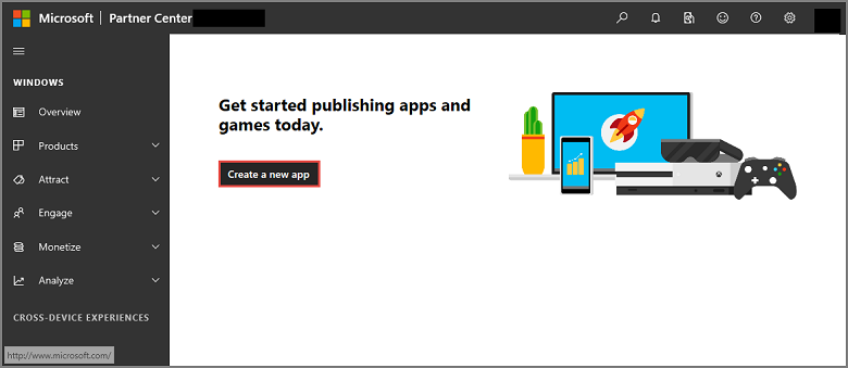 New app button
