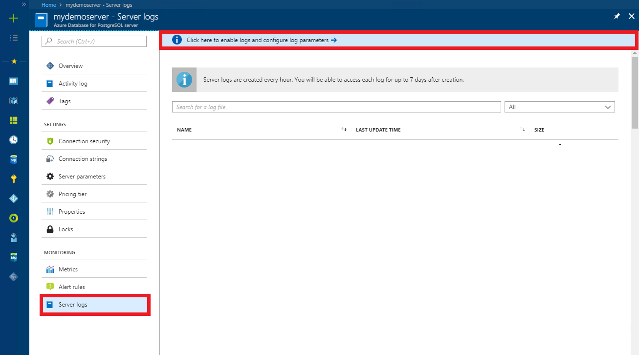 Configure and access server logs for Azure Database for