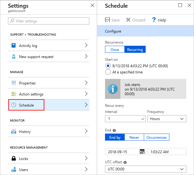 Create scheduled jobs with Azure Scheduler - Azure portal