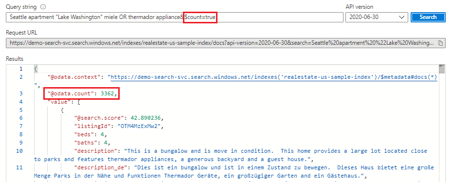 Search explorer tool for querying data in Azure portal - Azure