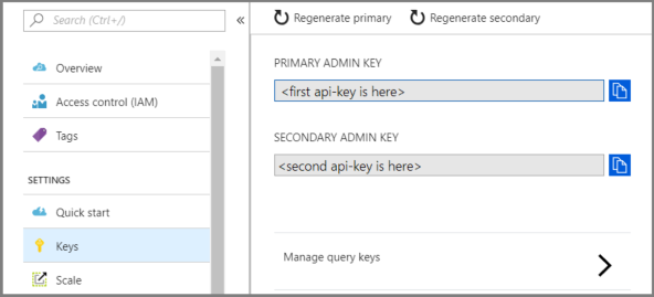 Create, manage, and secure admin and query api-keys - Azure Search