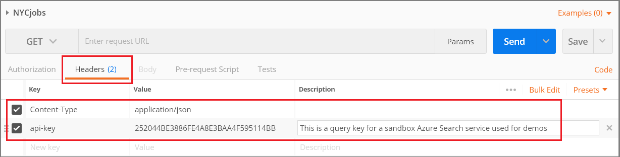 Query examples using the