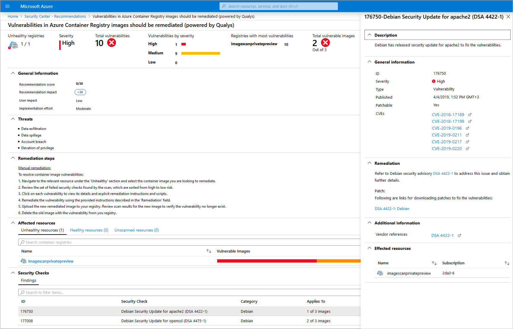 Sample Azure Security Center recommendation about vulnerabilities discovered in an Azure Container Registry (ACR) hosted image