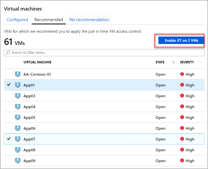Just-in-time virtual machine access in Azure Security Center