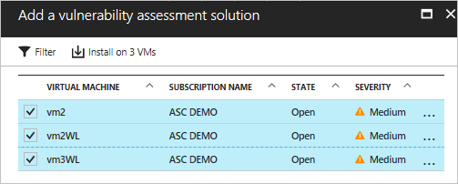 Vulnerability assessment in Azure Security Center
