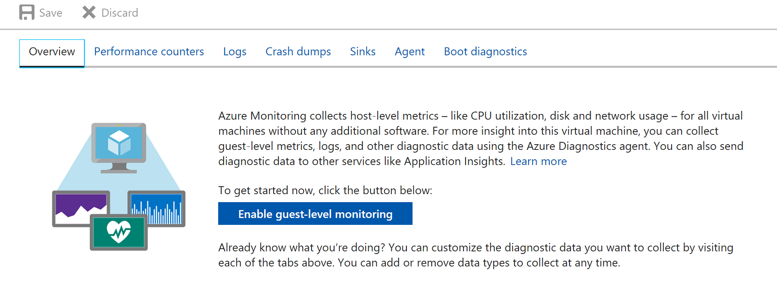 Get started with azure log integration microsoft docs screenshot of enable guest level monitoring button baditri Gallery