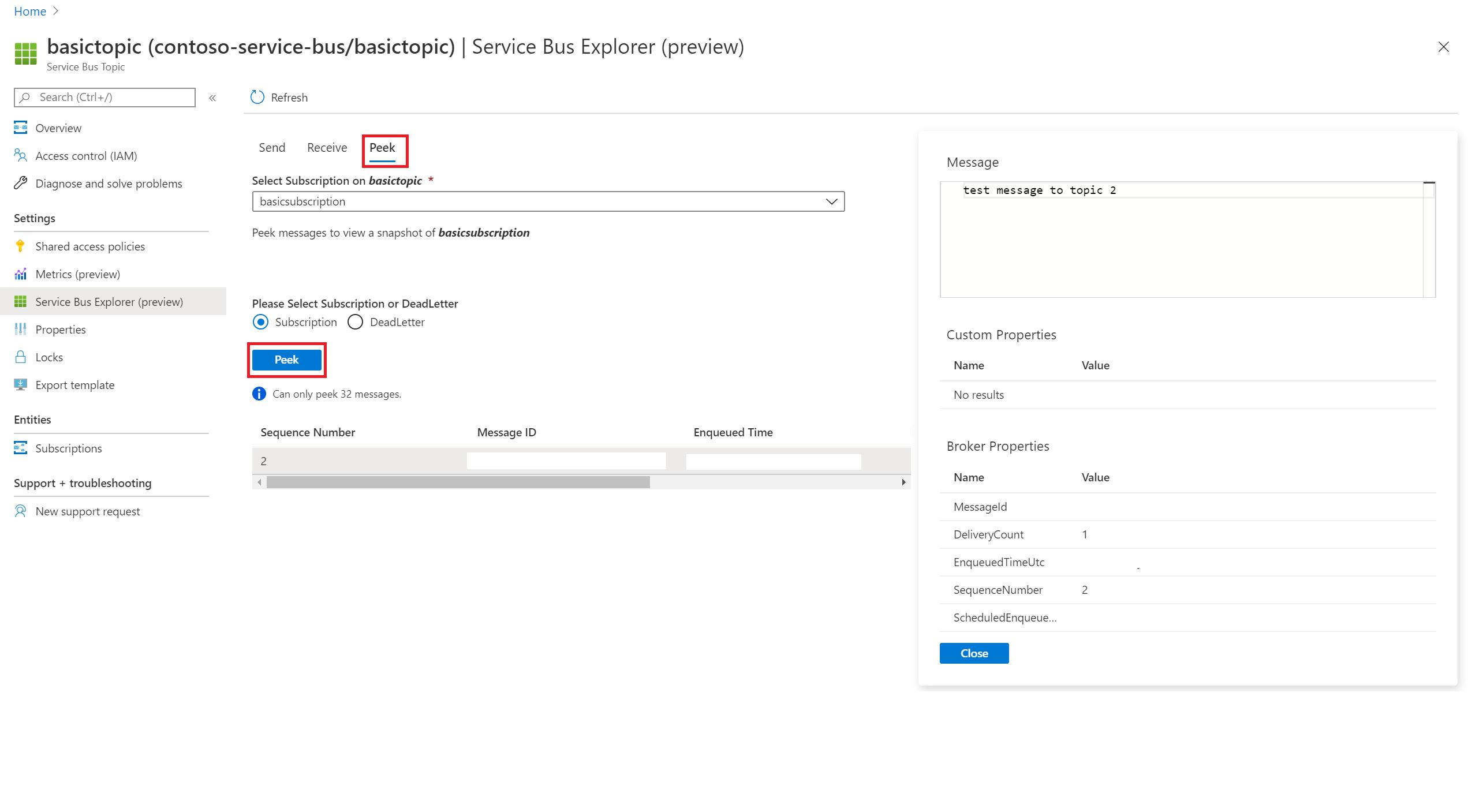 Use Azure Service Bus Explorer To Perform Data Operations On Service Bus Preview Azure Service Bus Microsoft Docs