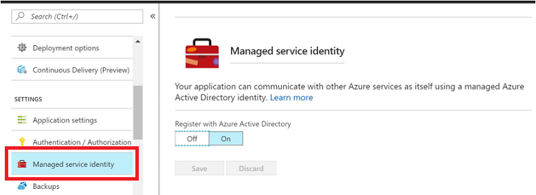 Managed Service Identity with Azure Service Bus preview