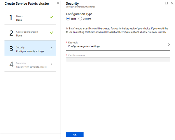 Create a Service Fabric cluster in the Azure portal