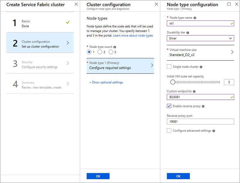 Create a Service Fabric cluster in the Azure portal