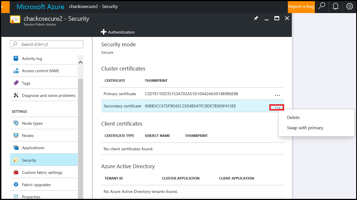 Manage Certificates In An Azure Service Fabric Cluster Microsoft Docs
