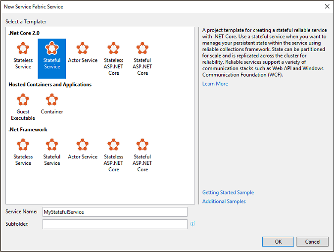 New service dialog box in Visual Studio