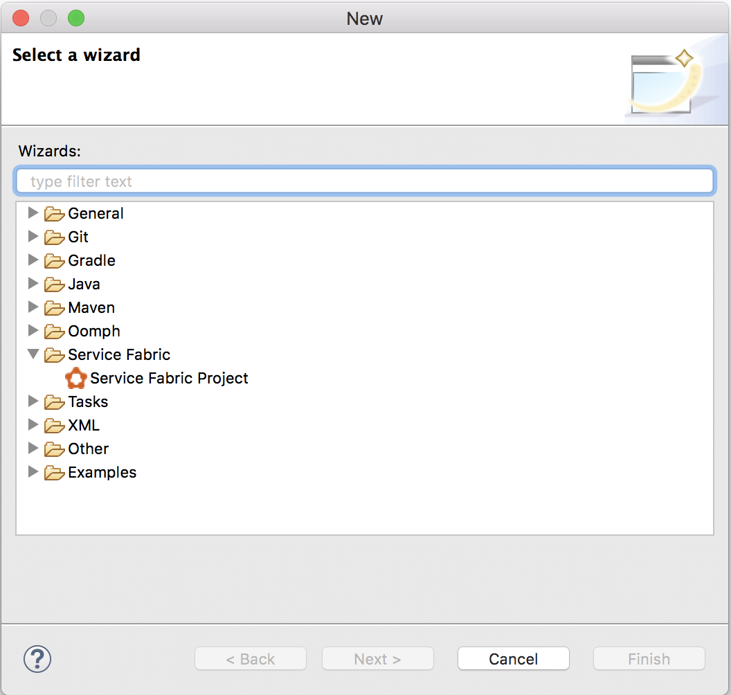 Create a java application for service fabric microsoft docs new project dialog in eclipse baditri Choice Image
