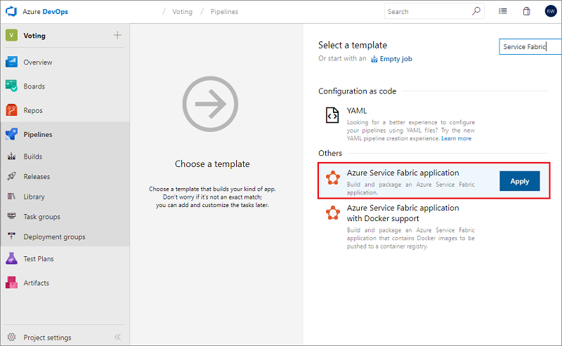 Deploy a Service Fabric app with continuous integration and