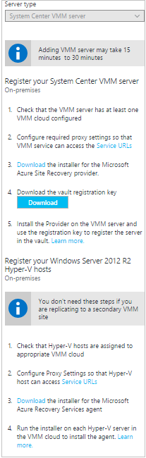 Set up disaster recovery for Hyper-V VMs between on-premises sites