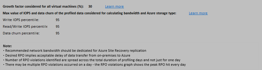 Analyze the Azure Site Recovery Deployment Planner report for