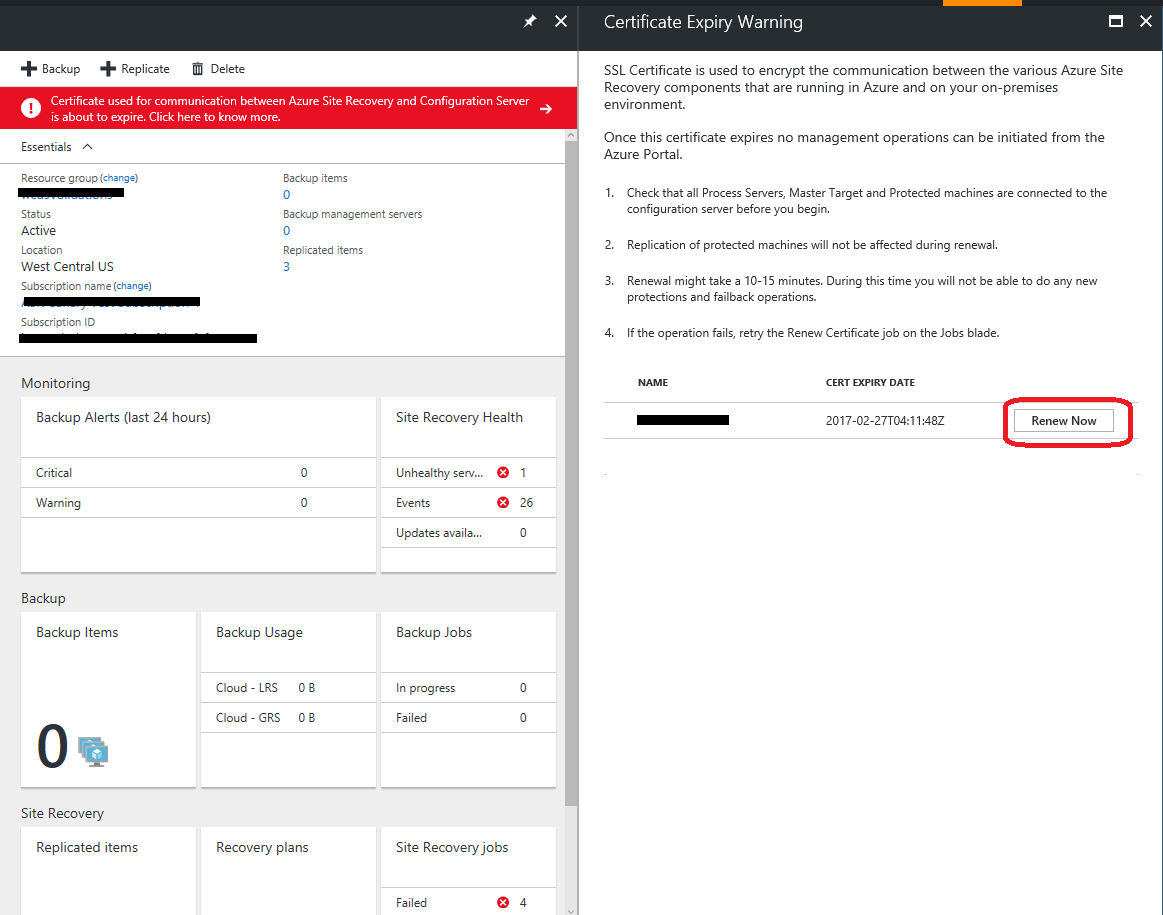 Manage a configuration server in azure site recovery microsoft docs certificate details xflitez Gallery