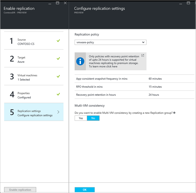 Enable replication of VMware VMs for disaster recovery to