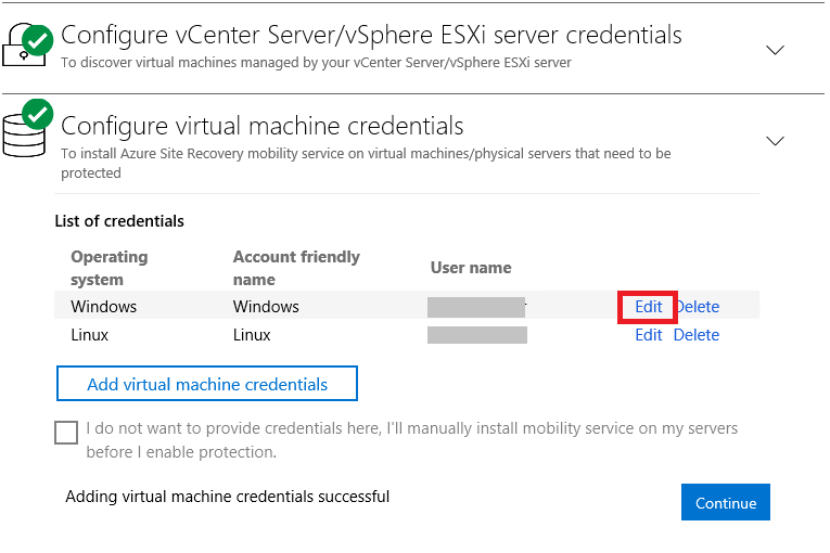 Manage the configuration server for VMware and physical