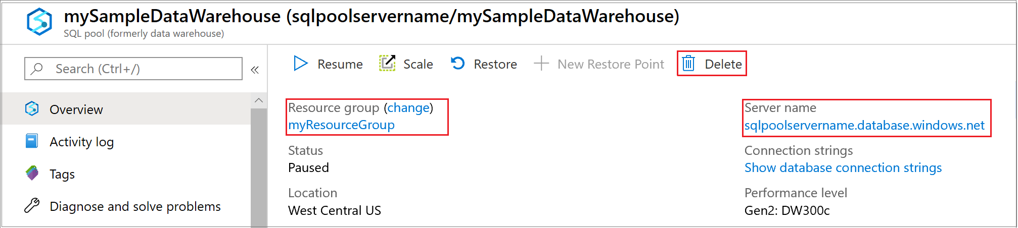 pause and resume compute in synapse sql pool via the azure