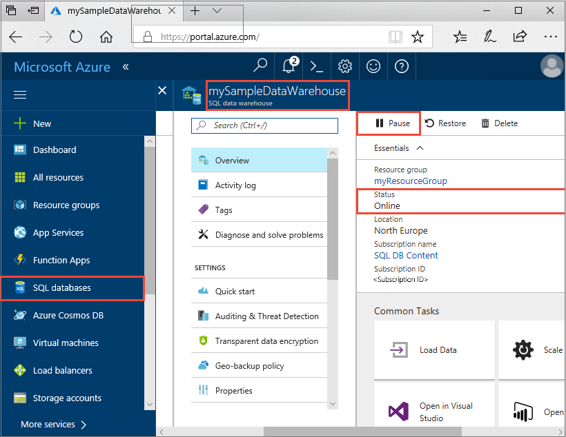 quickstart pause and resume compute in azure sql data warehouse