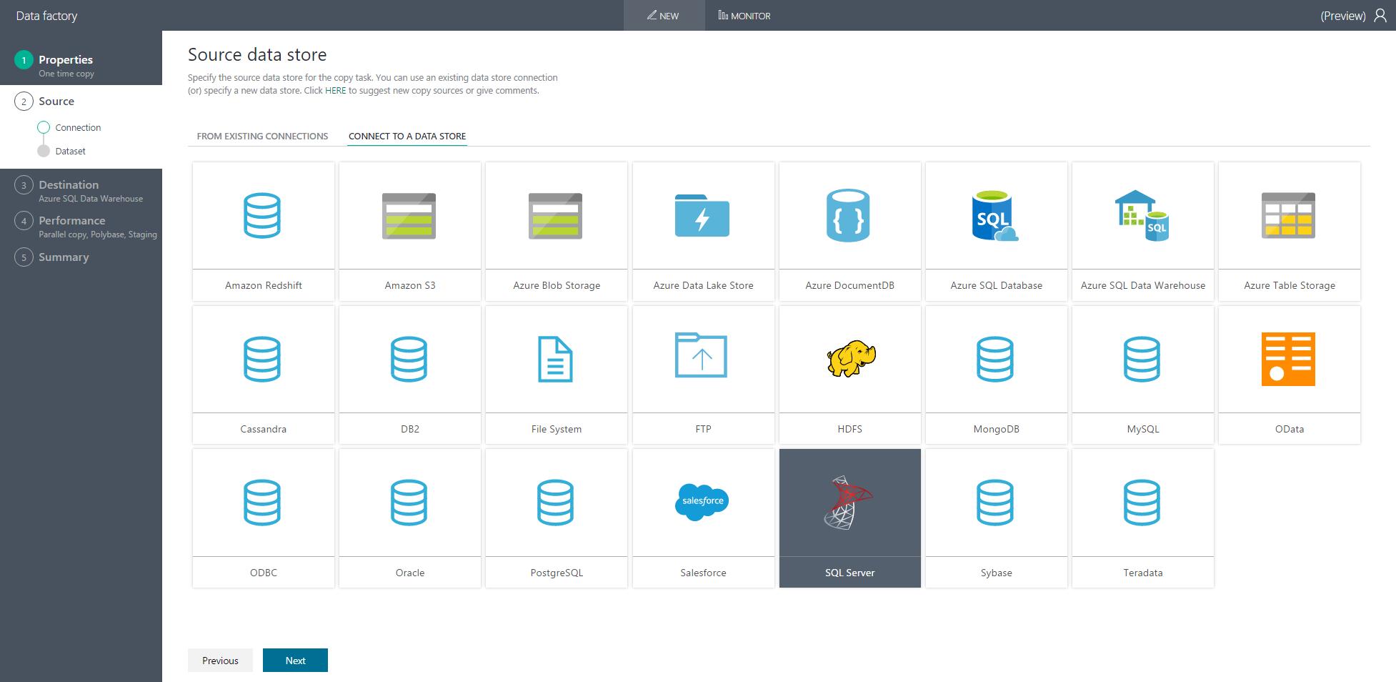 Load data into azure sql data warehouse data factory microsoft choose sql server source xflitez Gallery