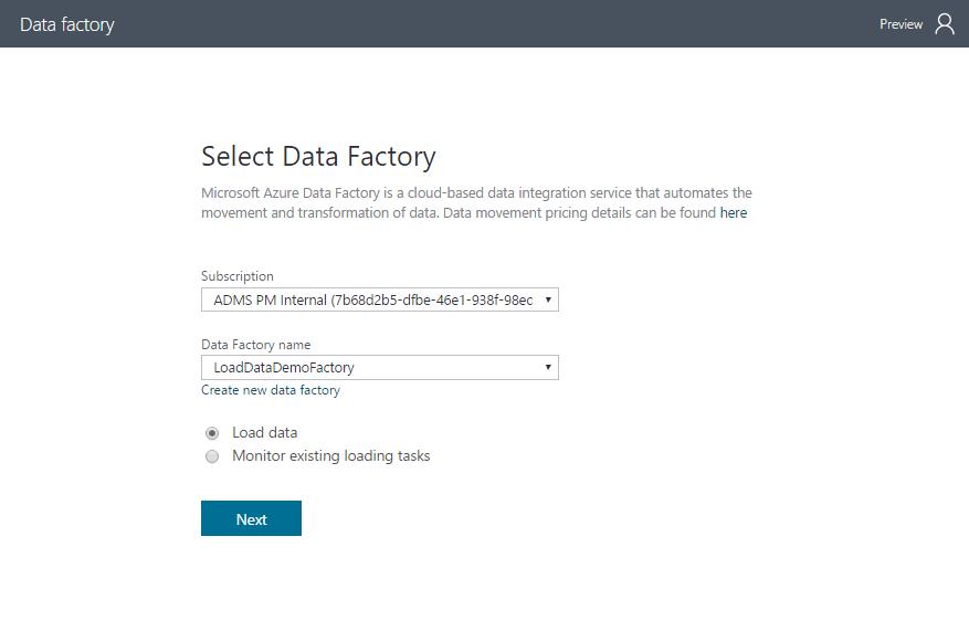 configure data factory