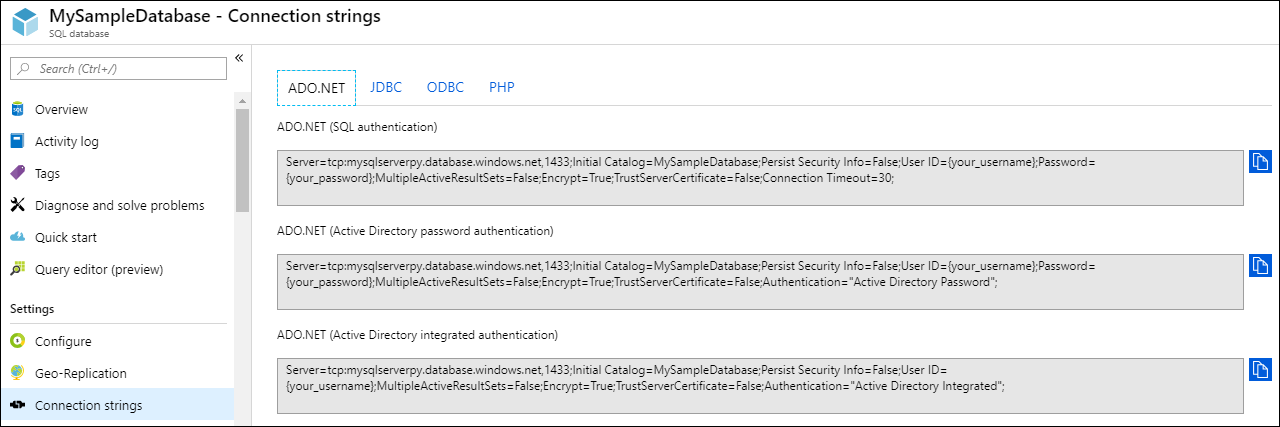 connect to azure sql database by using net c microsoft docs ado net connection string