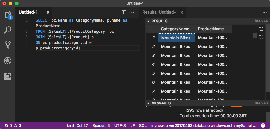 VS Code: Connect and query data in Azure SQL Database